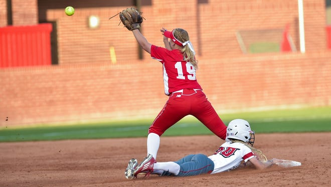 Kendall Smith slides into second as the Cajuns face Boston University in the NCAA Softball Regionals.