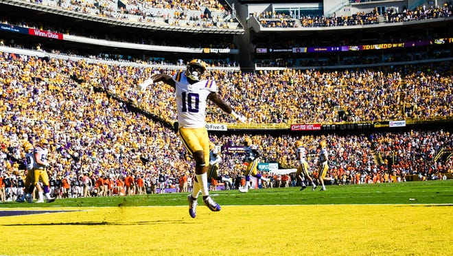 LSU wide receiver Stephen Sullivan celebrates in the end zone as the LSU Tigers take on the Auburn Tigers. Saturday, Oct. 14, 2017.