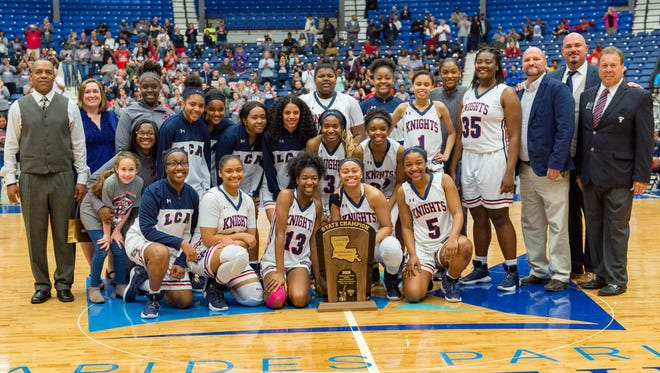 The Lafayette Christian Academy Knights win their second State Championship game taking down the Houma Christian Lady Warriors 38-29. Friday, March 2, 2018.