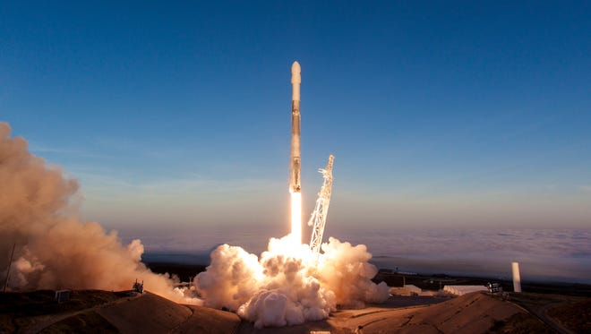 A SpaceX Falcon 9 rocket lifts off from Vandenberg Air Force Base in California with 10 Iridium NEXT satellites. A live stream from the rocket's second stage was cut off early due to restrictions on cameras in orbit, a point Secretary of Commerce Wilbur Ross discussed Tuesday.