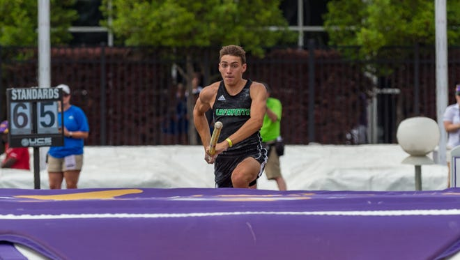 """Armond """"Mondo"""" Duplantis clears 19' 5.5"""" in Pole Vaulting at the LHSAA State Track Meet at LSU's Bernie Moore Track Stadium. Saturday, May 5, 2018."""