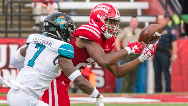 Cajuns wide receiver Keenan Barnes  as the Louisiana Ragin Cajuns take on Coastal Carolina at Cajun Field. Saturday, Sept. 22, 2018.