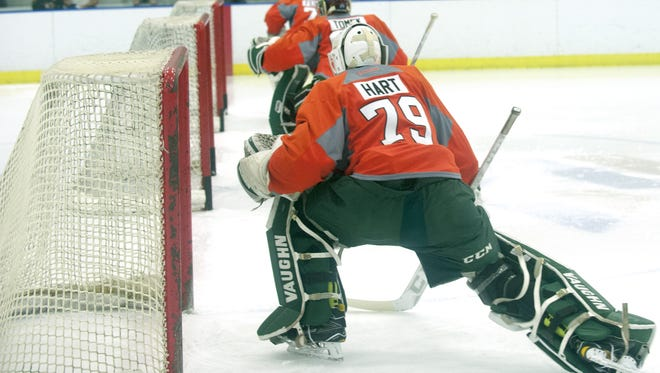 Carter Hart and Felix Sandstrom are both hoping they can be the Flyers' goalie of the future.
