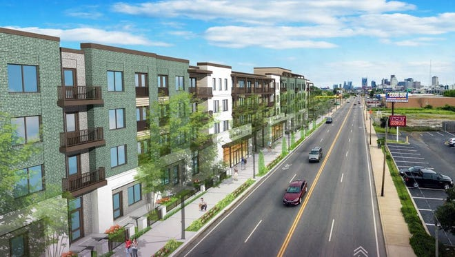 A rendering shows the mixed-use condo and commercial space project planned for 829-839 Dickerson Pike.