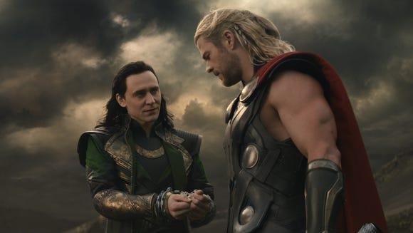 Loki (Tom Hiddleston) and Thor (Chris Hemsworth) are