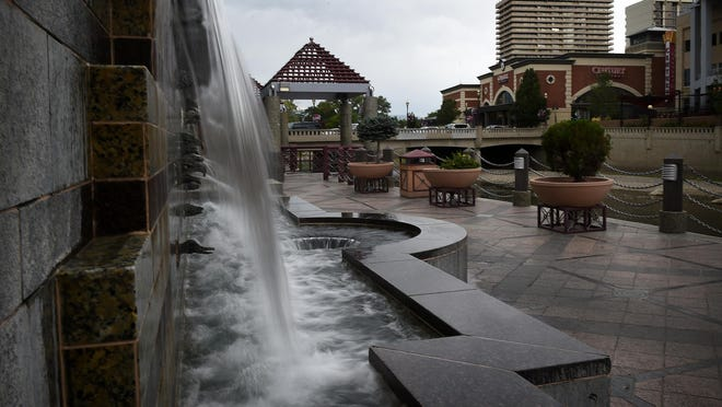 The Riverwalk Fountain is seen on the south bank of the Truckee River in downtown Reno on Tuesday, July 21, 2015.