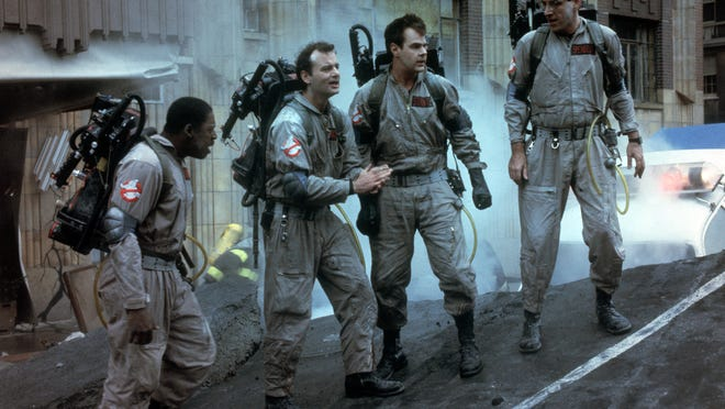 """Ernie Hudson, left, Bill Murray, Dan Aykroyd and Harold Ramis in a scene from the 1984 motion picture """"Ghostbusters."""" CREDIT: Sony Pictures [Via MerlinFTP Drop]"""