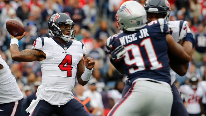 Sep 9, 2018; Foxborough, MA, USA; Houston Texans quarterback Deshaun Watson (4) throws a pass against the New England Patriots in the second half at Gillette Stadium. The Patriots defeated the Texans 27-20 Mandatory Credit: David Butler II-USA TODAY Sports