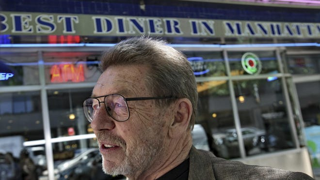 FILE - In this June 5, 2007 file photo, Pete Hamill responds during an interview at the Skylight Diner in New York. The longtime New York City newspaper columnist and author has died. His brother Denis Hamill said Pete died Wednesday, Aug. 5, 2020 in Brooklyn.