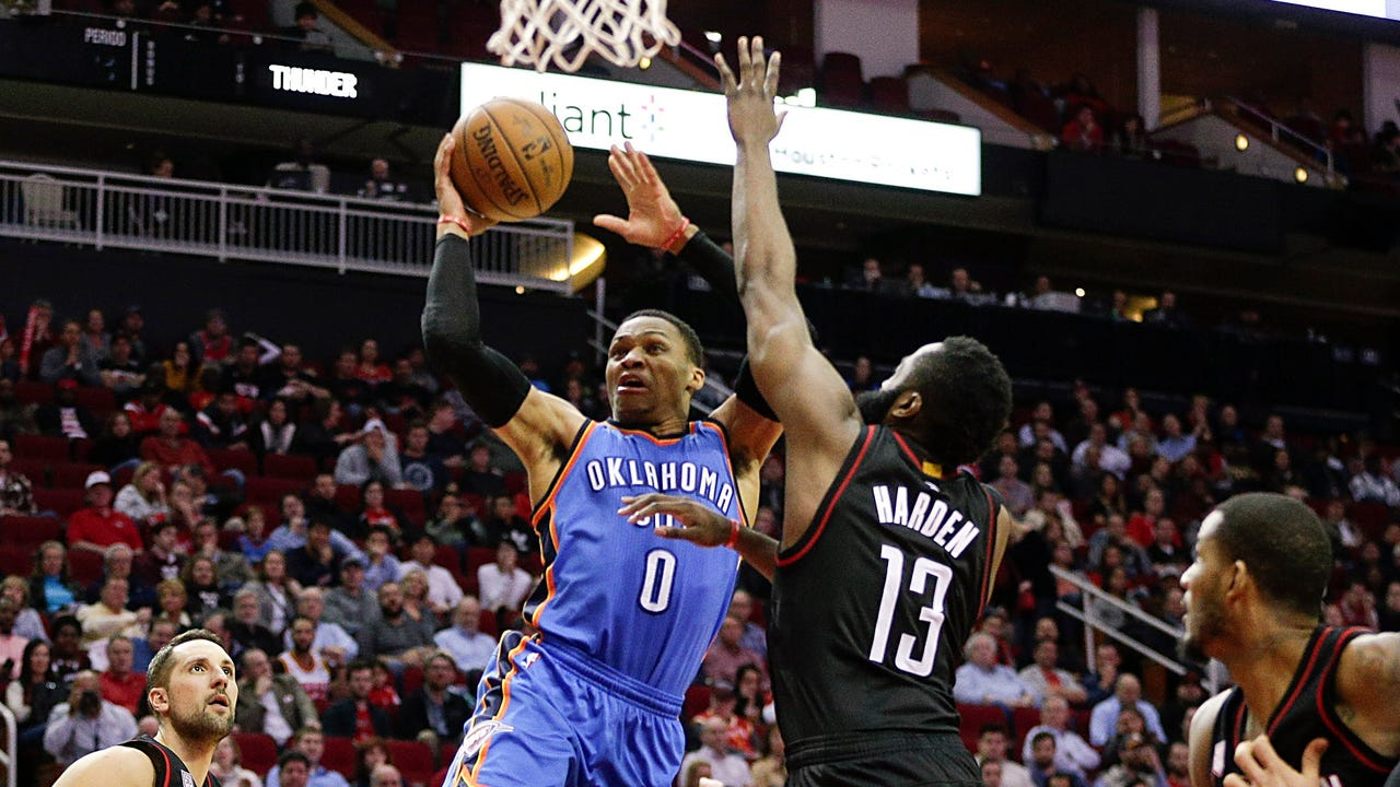 Russell Westbrook poured in 49 points, but it wasn't enough as James Harden and the Rockets held on the beat the Thunder 118-116.