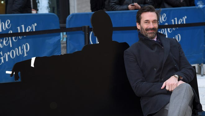 """Jon Hamm attends the """"Mad Men"""" art installation unveiling at Time & Life Building on March 23."""