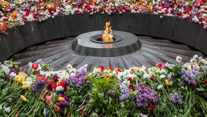 The eternal flame burns at the Armenian genocide memorial on April 24, 2015, in Yerevan, Armenia.