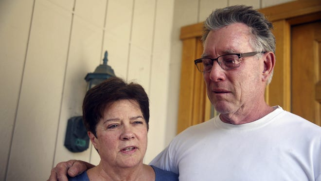 "Liz Sullivan and Jim Steinle, parents of Kathryn  ""Kate"" Steinle, talk to the media outside their home in Pleasanton on July 2. Kate Steinle was walking along a San Francisco pier July 1 when she was allegedly killed by Mexican national Juan Francisco Lopez-Sanchez."