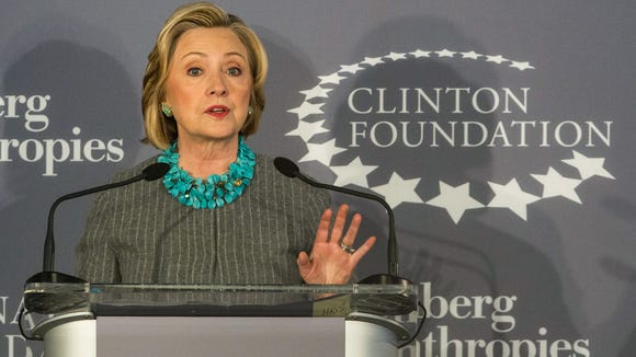 Hillary Clinton speaks at a press conference announcing