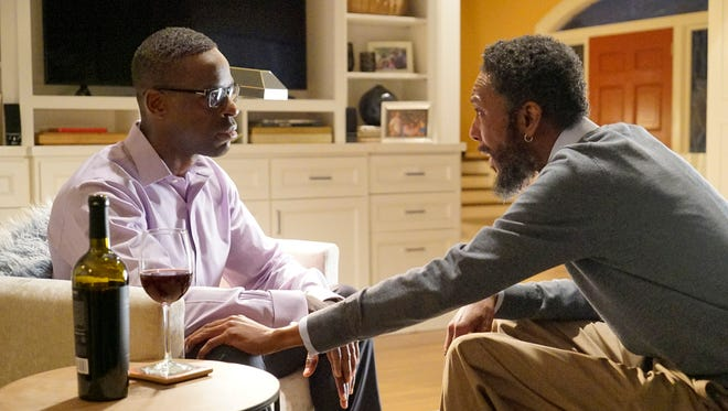 Sterling K. Brown, left, and Ron Cephas Jones play a son and birth father who have just met on NBC drama 'This Is Us.'