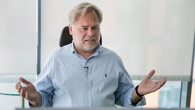 Eugene Kaspersky, Russian antivirus programs developer and chief executive of Russia's Kaspersky Lab, talks during an interview at his company's headquarters in Moscow, Russia, Saturday, July 1, 2017. Kaspersky says he's ready to have his company's source code examined by U.S. government officials to help dispel long-lingering suspicions about his company's ties to the Kremlin.