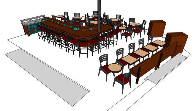 The redesigned Steaming Cup cafe, 340 W. Main St., Waukesha, will have a work bar with outlets and USB ports. In its curve on the opposite side is a rounded booth.
