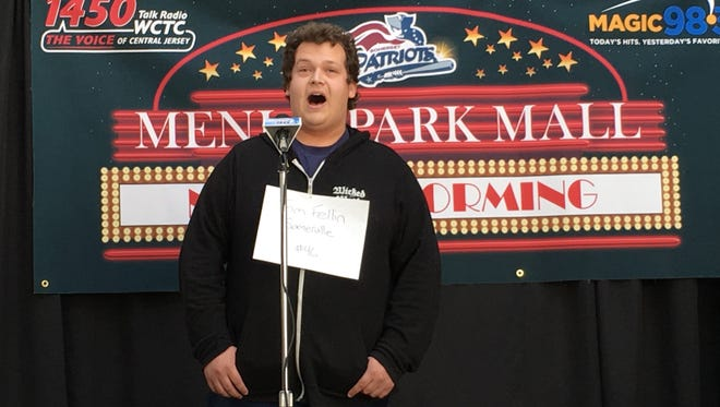 Shown auditioning to sing the National Anthem this year for the Somerset Patriots is Tom Fellin of Somerville. Fellin was chosen as one of the singers.