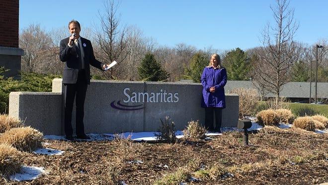 Samaritas CEO Sam Beals and President Vickie Thompson-Sandy at Samaritas office in Grand Rapids on April 5, 2016.
