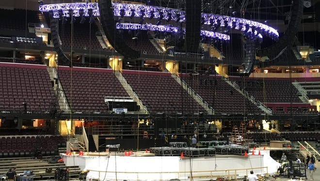 Workers erect the main stage for the Republican National Convention in Cleveland in this June 28, 2016, photo.