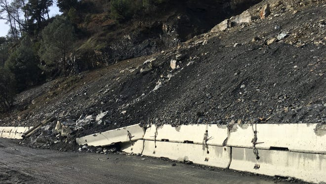 A rock slide about 25 miles west of Weaverville has closed Highway 299. The roadway could be reopened to one-way traffic the week of Jan. 8