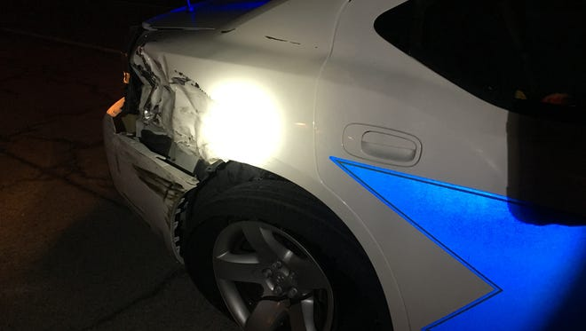 An Indiana State Police trooper was injured when his patrol car was struck by a hit-and-run driver on I-69 Saturday, March 25, 2017.