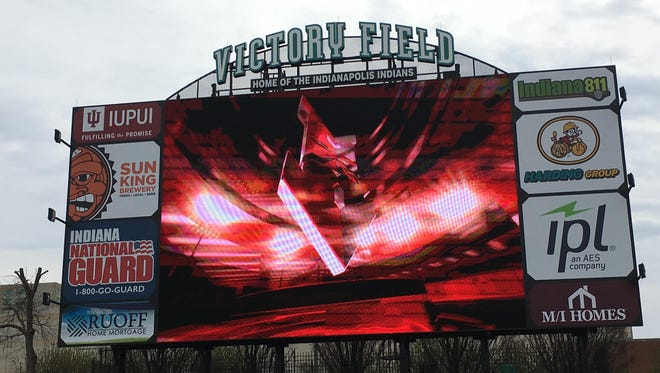 The Indians unveiled their new 35 x 50 foot scoreboard.
