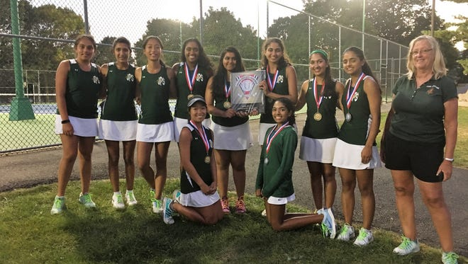 The J.P. Stevens girls tennis team won the Greater Middlesex Conference Tournament for the second season in a row.