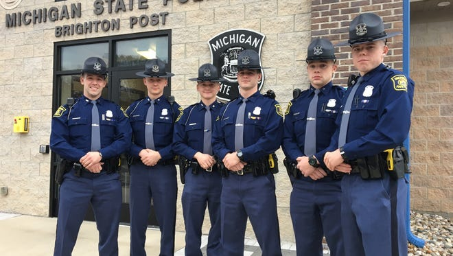 From left, Tpr. Michael LaForge of Port Huron; Tpr. Kevin Sutton of Warren; Tpr. Eric Hoffman of Petoskey;  Tpr. Max Prince of Faser; Tpr. Ty Peterson of Milan; and Tpr. Michael Twietmeyer of Saginaw joined the ranks last week at the Michigan State Police Brighton post.