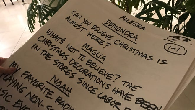 "The cue cards are ready to tape a scene in ""A Palm Springs Holiday."""