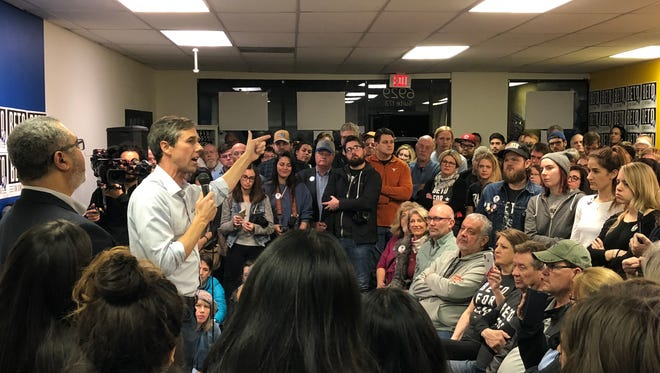 U.S. Rep. Beto O'Rourke, D-El Paso, speaks at a campaign rally in January in Austin. O'Rourke, a Democrat, is challenging U.S. Sen. Ted Cruz, a Republican.