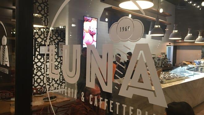 The window at Luna Luna Gelateria & Caffetteria offers a glimpse inside.