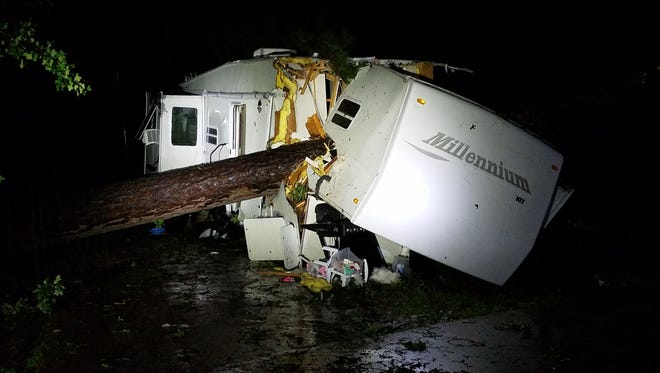 A tree fell on an RV in a Haughton, Louisiana, mobile home park on April 14, killing a young girl.