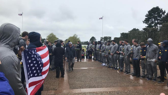 Michigan's football team spent the day in Normandy, France on Sunday, April 29, 2018.