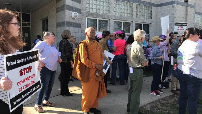 Tulsa-based Williams has withdrawn and will resubmit its state application to build a compressor station in Franklin Township for an enhancement of its Transco Pipeline. Pictured is a May 2 protest of the project during a Federal Energy Regulations Commission hearing on May 2 at the Franklin Senior Center.