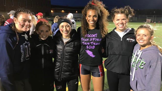 Rocori seniors Taylor Terfehr, Amy Bertram, Brynn Sauer, Jayda Woods, Kennedy Heinen and Callie Swanberg are all smiles after winning the state true-team title Saturday in Stillwater.