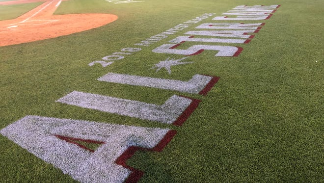 The Midwest League All-Star Game logo is shown painted on the field at Cooley Law School Stadium earlier this month.