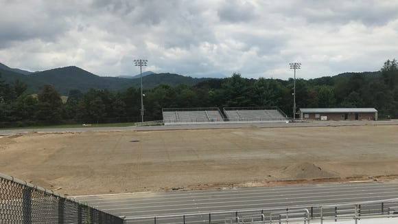 The instillation for the new turf on Enka and North Buncombe's football fields are behind schedule. Shown here in Enka's football field as of July 20.