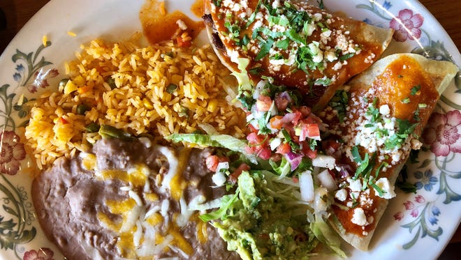 Tacos al carbon with refried beans and rice from Blu Agave in Fort Myers.