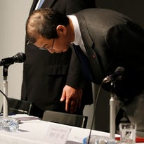 Japanese seat belt and air-bag maker Takata Corp. Chairman and CEO Shigehisa Takada bows during a press conference regarding the expanding recall of his company's air bags, in Tokyo Thursday, June 25, 2015.