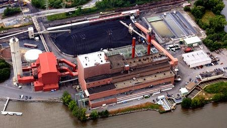 An aerial view of the Danskammer electric generating plant located on the west bank of the Hudson River in the Town of Newburgh.