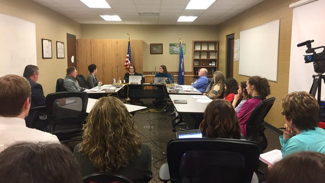 Rocori school board members discuss the process of hiring an acting superintendent during a meeting Monday, March 26 at the district office in Cold Spring.