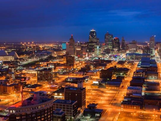Downtown Kansas City, Missouri at night.