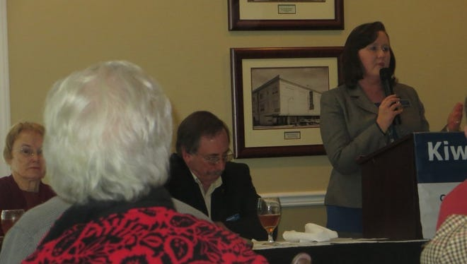 Dr. Sheri Roland, V.P. Student Affairs at Tallahassee Community College ( TCC) addresses members of the Tallahassee Kiwanis Club.