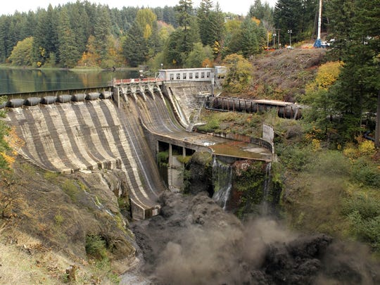 The breaching of the Condit Dam in 2011 on southwest Washington?s White Salmon River, a tributary of the Columbia River.