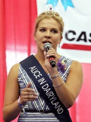 Alice in Dairyland, Crystal Siemers-Peterman, welcomes the crowd to the Governor's Blue Ribbon Livestock Auction on Aug. 9 at the Wisconsin State Fair.
