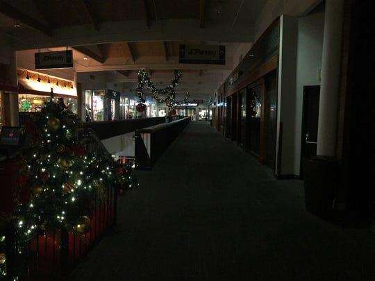 An eerily dark Salem Center early Friday morning.