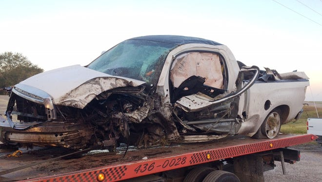 Cody Cormier, a deputy for the Beauregard Parish Sheriff's Office, was killed when his pickup truck (pictured) went off a highway and flipped end over end, State Police Troop D reported. Cormier was off-duty and was in a personal vehicle.