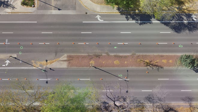 This photo shows College Avenue during a fatal crash investigation in 2017. Fort Collins police briefly closed the road in both directions to capture aerial imagery of the scene with a drone.