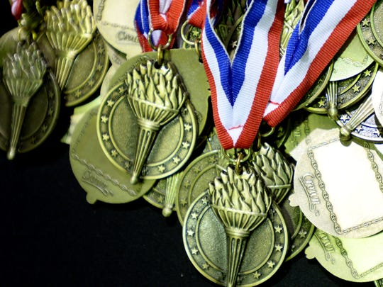 Metals for the annual Louisiana Nursing Home Senior Olympics Friday afternoon at the Bossier Civic Center.